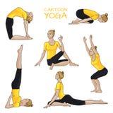 Actitudes de la yoga fijadas: muchacha con el pelo rubio en camisa amarilla Imagen de archivo libre de regalías