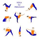 Actitudes de la yoga para el vector plano de las mujeres embarazadas fotografía de archivo libre de regalías