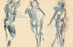 Actitudes de los bailarines, drenando Fotografía de archivo