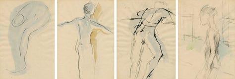 Actitudes de los bailarines, drenando Imagenes de archivo