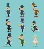 Actitudes de los caracteres victorianos del caballero diversas y los iconos de las acciones fijados aislaron el ejemplo plano del ilustración del vector