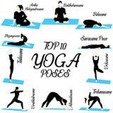 Actitudes del ejemplo de la yoga del top 10 para el principiante ilustración del vector