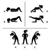 Actitudes del ejercicio para el ejemplo sano de los pictogramas Fotos de archivo