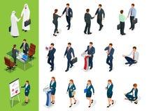 Actitudes isométricas de los caracteres del negocio Apretón de manos El sistema de Businessmans, de Businesswomans y del árabe si stock de ilustración