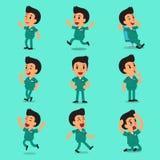 Actitudes masculinas del carácter de la enfermera de la historieta Foto de archivo libre de regalías