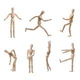 Actitudes modelo de Wooden Mannequin Collection aisladas Imagen de archivo