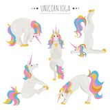 Actitudes y ejercicios blancos de la yoga del unicornio Sistema lindo del clipart de la historieta stock de ilustración