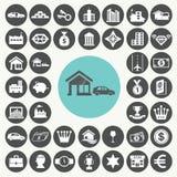 Activa en bezits geplaatste pictogrammen Stock Foto's