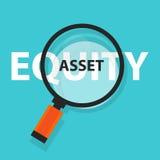 Activa of gelijkheids het symbool van het van het bedrijfs cash flowconcept analysevergrootglas royalty-vrije illustratie