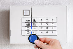 Activate alarm system. Activate an modern alarm system with chip stock photography