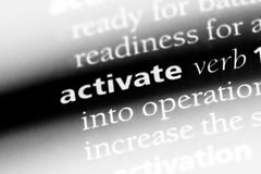 Activate. Word in a dictionary.  concept royalty free stock photography
