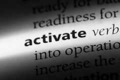 Activate. Word in a dictionary.  concept stock images