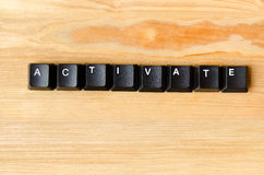 Activate word. With keyboard buttons stock photography