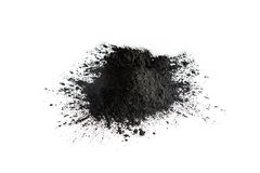 Activated charcoal powder shot with macro lens Royalty Free Stock Photos