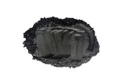 Activated charcoal powder shot with macro lens Royalty Free Stock Images