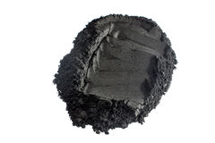 Activated charcoal powder shot with macro lens Royalty Free Stock Image