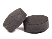 Activated coal. On the isolated background Royalty Free Stock Images