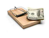 Activated mousetrap with money. Hypothec Stock Image