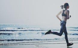 Active Action Beach Coast Health Jogging Summer Concept Stock Photos