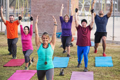 Active Adults Exercising. Group of active adults stretching outdoors with mats Stock Photos