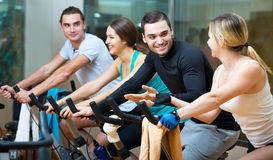 Active adults riding stationary bicycles Stock Images