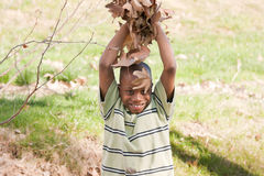Active African American Boy Playing in the Park Royalty Free Stock Image
