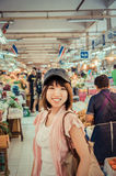 Active Asian tourism is touring in Thailand open market in vinta Stock Images