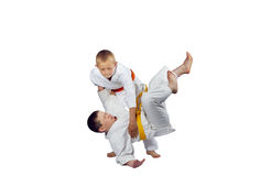 Active athletes in judogi are doing throws judo Stock Images