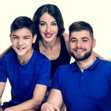 Active athletic family. Portrait of active athletic family leading healthy lifestyle, image with warm vintage toning royalty free stock photo