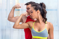 Active athletic sportive woman girl and man Stock Photography