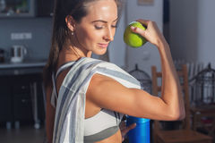 Active athletic sportive woman with towel in sport royalty free stock photos