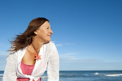 Active attractive senior woman ocean background Royalty Free Stock Photo