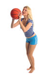 Active Basketball Girl. Active girl in athletic wear playing basketball royalty free stock images