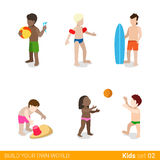 Active beach vacation children at play parenting f Stock Image
