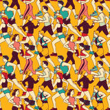 Active big group people run sport seamless pattern. Royalty Free Stock Images