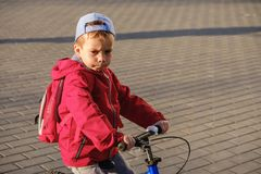 Active blond kid boy driving bicycle in the park. Toddler child dreaming and having fun on warm summer day. Outdoors games for children. Balance bike concept Royalty Free Stock Photography