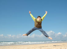 Active boy on the beach Royalty Free Stock Photo