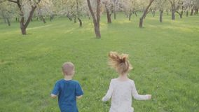 Active boy and girl run near the trees in the park. Beautiful nature. Slow motion.  stock footage