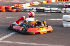 Active boy kart racing Stock Images