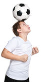 Active boy with a soccer ball Stock Image
