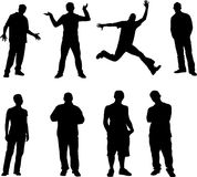 Active Boys. Boys vectors sillhouettes 8 pics Royalty Free Stock Photography