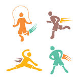 Active boys fitness sports set 1. Icons of children exercising healthy lifestyle stock illustration