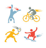 Active boys fitness sports set 3. Icons of children exercising healthy lifestyle Stock Photos