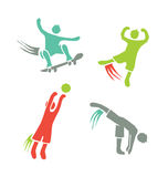 Active boys fitness sports set 4. Icons of children exercising healthy lifestyle Royalty Free Stock Images