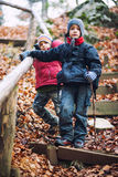 Active boys hiking Royalty Free Stock Photography
