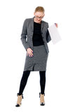 Active business woman with a blank sheet of paper Royalty Free Stock Photo