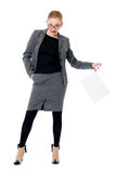 Active business woman with a blank sheet of paper. Isolated on a white background. Full length Stock Image