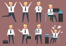 Active Businessman at Work Vector Illustration. Active businessman at work doing different activities such as working and having fun and staying positive all Stock Photo