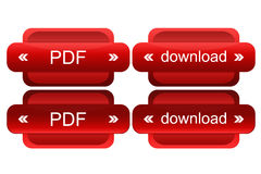 Active button for web. Active pdf and download button in red for web Stock Photos