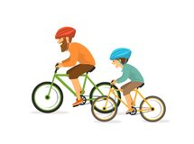 Active cheerful father and son, man and boy cycling, riding bikes. Happy active healthy family lifestyle isolated vector illustration scene Royalty Free Stock Photography